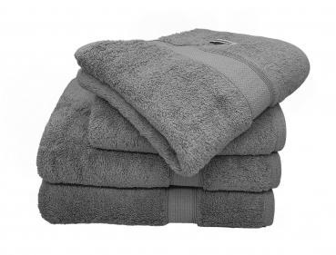 Bademayer Fusselfreis Frottier Handtuch Duschtuch - 4er Set aus 100% Ägyptischer Gekämmter Baumwolle - 600 g/m² (Schiefer-Grau)