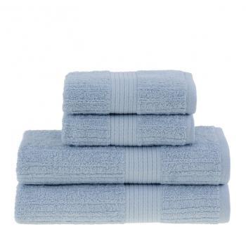 Bademayer Klassik - 4er Frottier Handtuch-Set aus 100% Brasilianischer Gekämmter Baumwolle. Fusselfrei. Hellblau