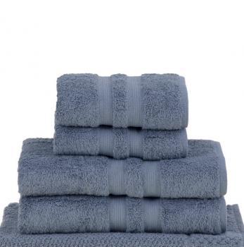 Bademayer Luxus- 4er Frottier Handtuch-Set aus 100% Ägyptischer Gekämmter Baumwolle. Blau.  Fusselfrei