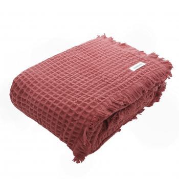 Bademayer Pique-Decke mit Franzen 150x200 cm.  aus 100% brasilianischer Baumwolle.  Farbe  Koralle-Rot