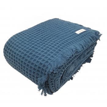 Bademayer Pique-Decke mit Franzen 150x200 cm.  aus 100% brasilianischer Baumwolle.  Farbe  Blau-Petrol